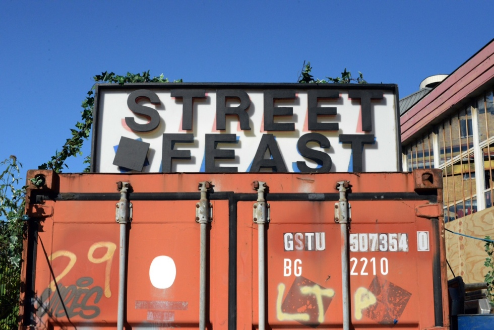 Street Feast banner in Dalston Yard