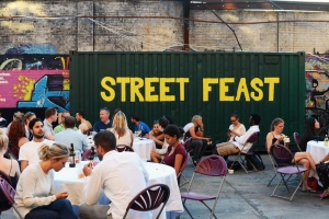 image of street feast seating area
