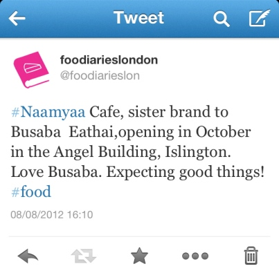 tweet about Naamyaa Cafe by food diaries london