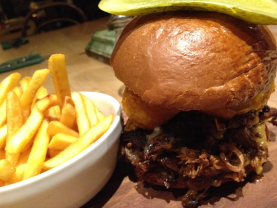 smoke beef short-rib beef burger and fries franze and evans
