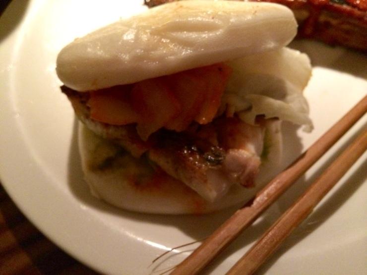Bun made with salmon teriyaki