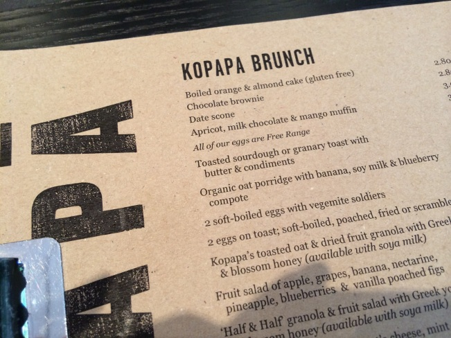 Kopapa Brunch menu