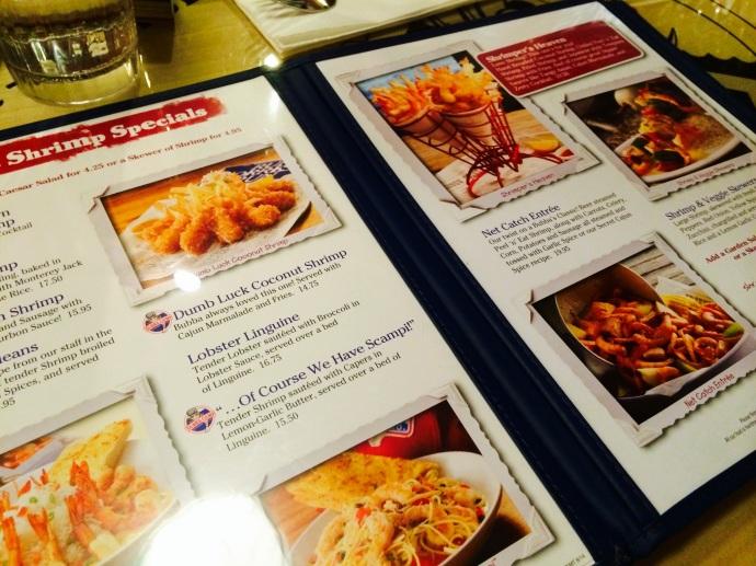 menu at bubba gump shrimp trocadero