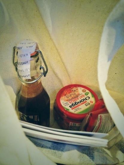 sneak peak of goodie bag from jin go gae new malden
