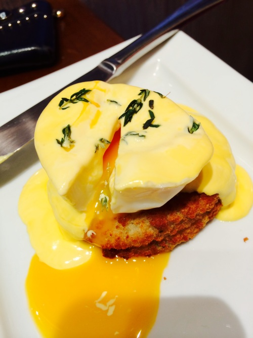 cod fish cake with hollandaise sauce