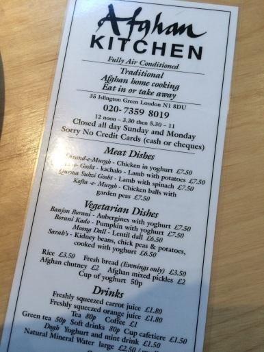 Afghan Kitchen menu Angel London