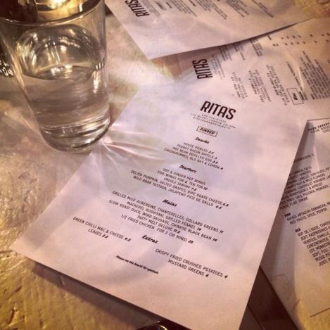 rita's dinner menu london