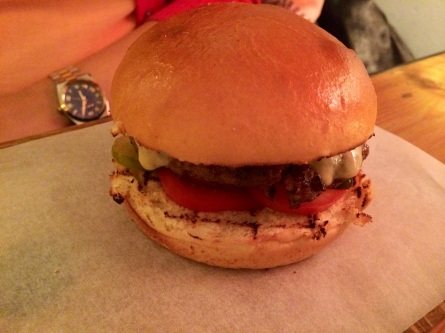 beef burger at The Queensbury Kitchen London