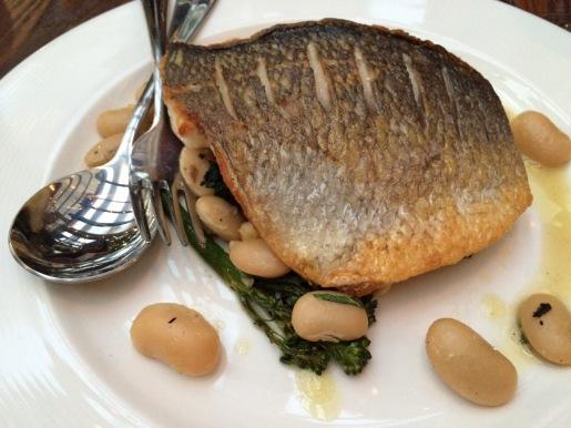 Sea bream, white beans, broccolini & hazelnuts // 13.0 Blixen London