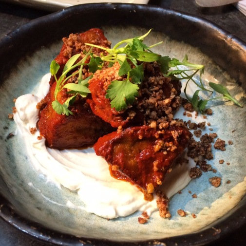aubergine small plate at pachamama bar and kitchen london