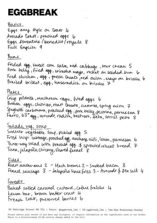 Eggbreak menu