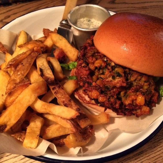 vegetarian burger at honest burgers london