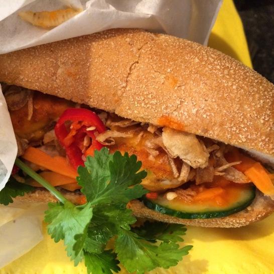 thai fish cake banh mi at whaam banh mi london
